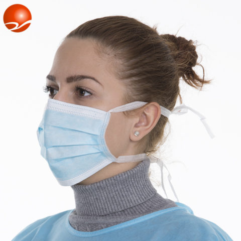 face mask with tie on
